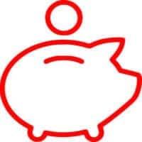icono de ahorro en el servicio de administración